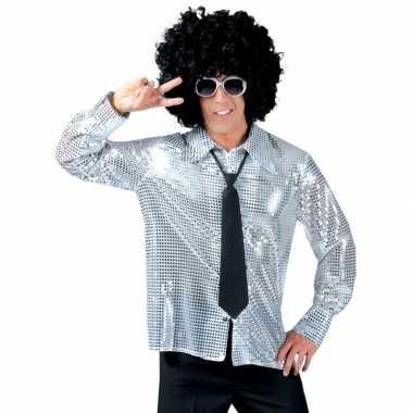 Zilveren pailletten disco blouse voor heren