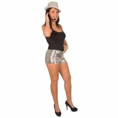 Zilveren pailletten hotpants voor dames
