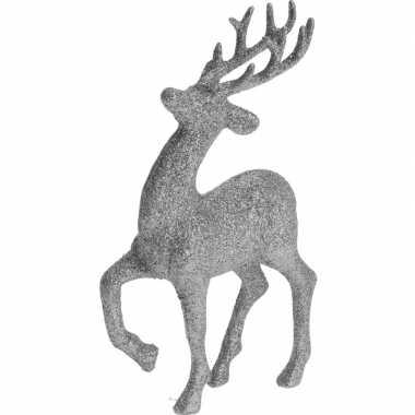 Zilveren rendieren/hertjes deco kersthangers van 17 cm