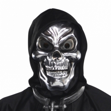 Zilveren schedel 3d masker