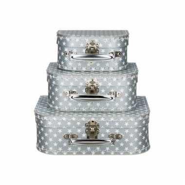 Zilveren speelgoedkoffer met witte sterren 20 cm