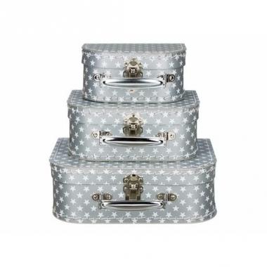 Zilveren speelgoedkoffer met witte sterren 25 cm