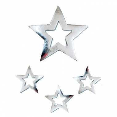 Zilveren sterren hangdecoratie 60cm