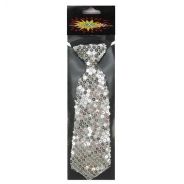 Zilveren stropdas glitter