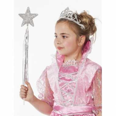 Zilveren tiara met glitters voor meisjes