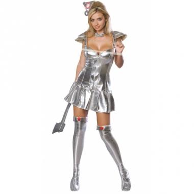 Zilveren tinnen kostuum vrouw