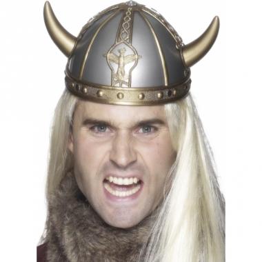 Zilveren viking helm met hoorns