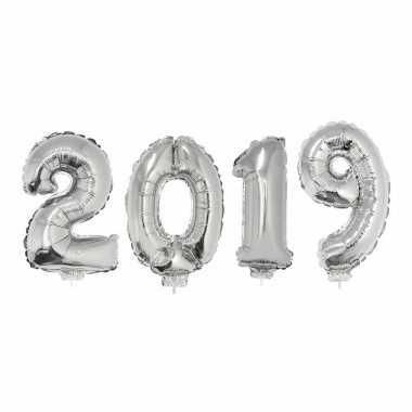 Zilverkleurige 2019 jaarwisseling folieballonnen