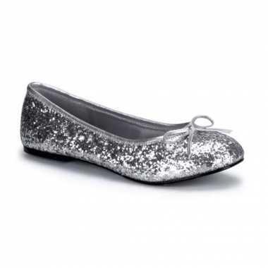 Zilverkleurige ballerina schoenen met glitters