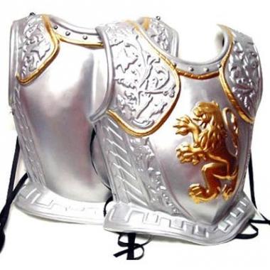 Zilverkleurige middeleeuws harnas