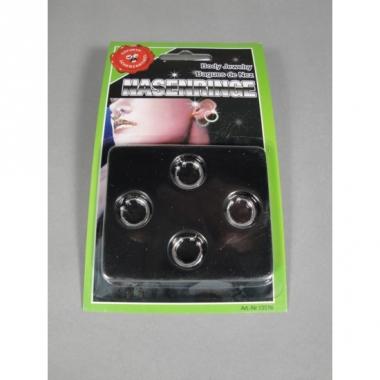 Zilverkleurige neusring 4 stuks