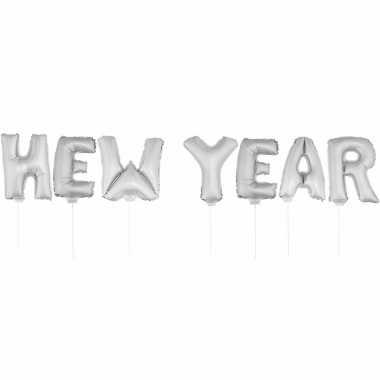 Zilverkleurige new year folieballonnen