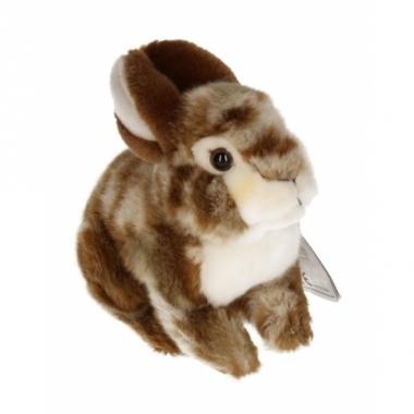 Zittend konijntje knuffel bruin/wit 22 cm