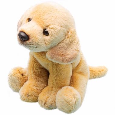 Zittende gele labrador knuffel 13 cm