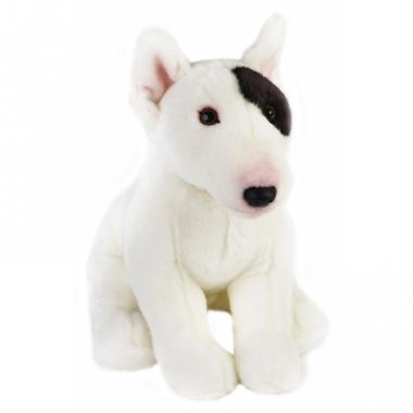 Zittende hond knuffel zwart/witte bull terrier 23 cm