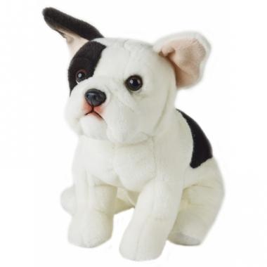 Zittende hond knuffel zwart/witte franse bulldog 23 cm