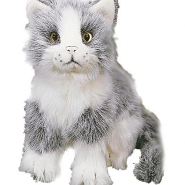 Zittende katten wit grijs 20 cm