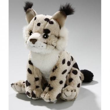 Zittende lynx knuffelbeest 16 cm