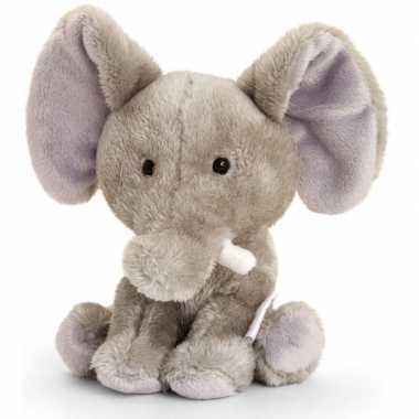 Zittende olifant knuffel pluche14cm