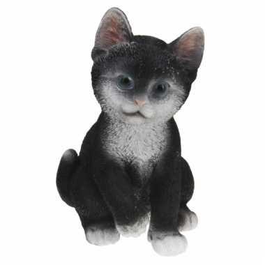 Zittende poesen beeldje zwart 19 cm
