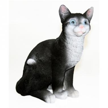 Zittende poesen beeldje zwart 29 cm