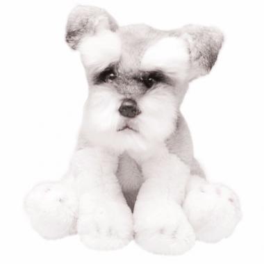 Zittende schnauzers wit/grijs knuffel 13 cm