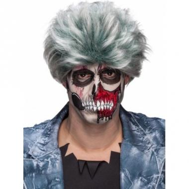 Zombiepruik gemeleerd grijs voor heren