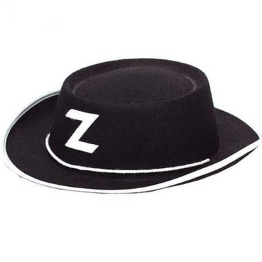 Zorro hoedje van zwart vilt kids