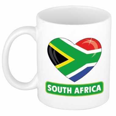 Zuid afrikaanse vlag hartje mok / beker 300 ml