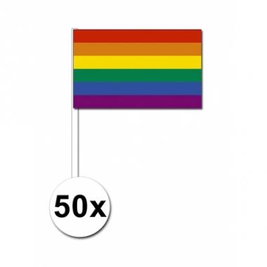 Zwaaivlaggen met regenboog 50 stuks