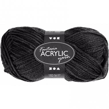 Zwart acryl 3-draads garen 80 meter