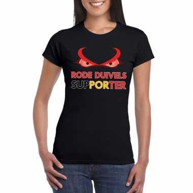 Zwart belgie rode duivels supporter shirt dames