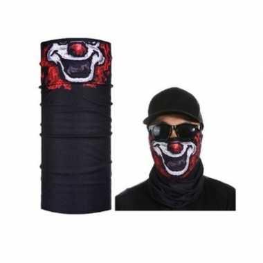 Zwart biker masker clownprint voor volwassennen