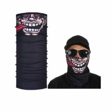 Zwart biker masker grappig/funny gezichtprint voor volwassennen
