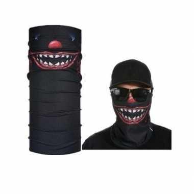Zwart biker masker horror/eng gezichtprint voor volwassennen