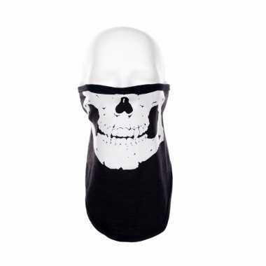 Zwart biker masker skeletprint voor volwassennen