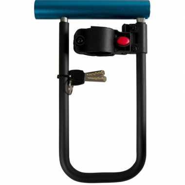 Zwart/blauw fietsslot beugel 22,5 cm