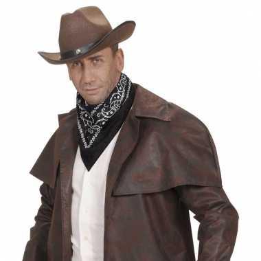 Zwart cowboy sjaaltje wilde westen thema 55 x 55 cm