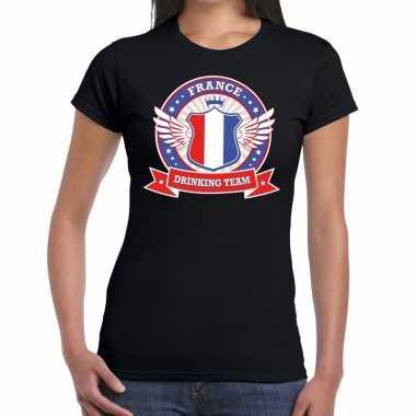 Zwart france drinking team t-shirt dames