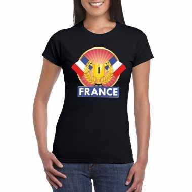 Zwart frankrijk supporter kampioen shirt dames