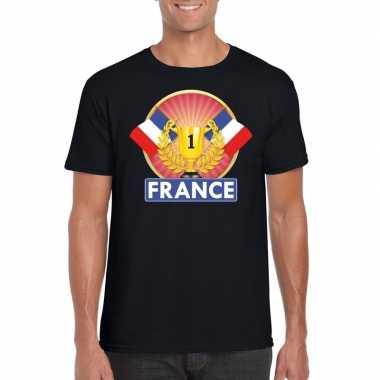 Zwart frankrijk supporter kampioen shirt heren