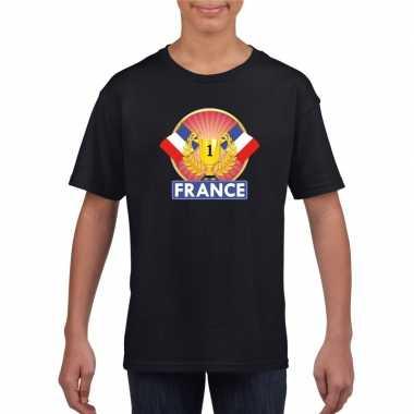 Zwart frankrijk supporter kampioen shirt kinderen