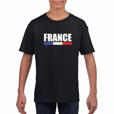 Zwart frankrijk supporter t-shirt voor kinderen