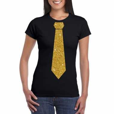 Zwart fun t-shirt met stropdas in glitter goud dames