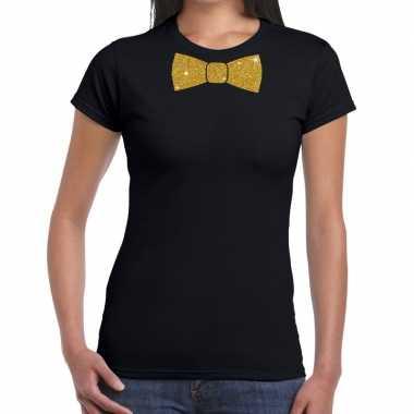 Zwart fun t-shirt met vlinderdas in glitter goud dames