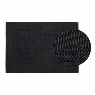 Zwart gevlochten placemat van kunststof 45 x 30 cm