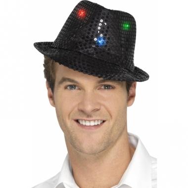 Zwart glitter hoedje met led verlichting