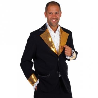 Zwart /goud glitter jas heren