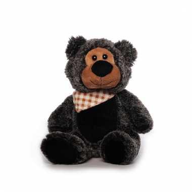 Zwart/grijze pluche beer met sjaal 21 cm