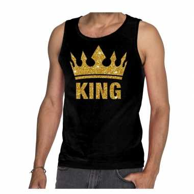 Zwart hemd voor heren gouden glitter king